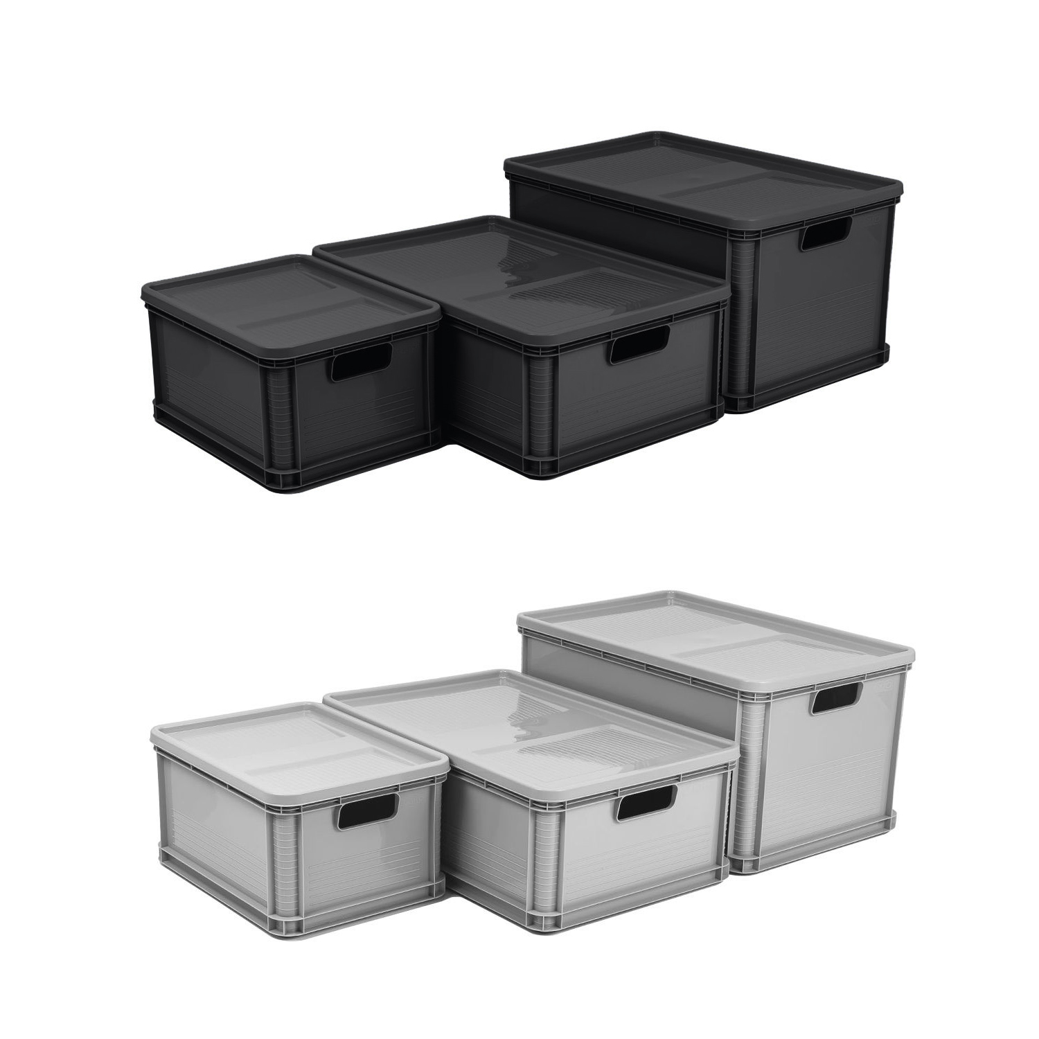 eurobox stapelbox lagerkiste transportbox deckel grau graphit box 20l 45l 64l ebay. Black Bedroom Furniture Sets. Home Design Ideas