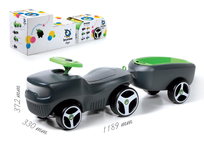 bobbycar bobby car rutschauto baby kinder auto mit bauernwagen farmee ebay. Black Bedroom Furniture Sets. Home Design Ideas
