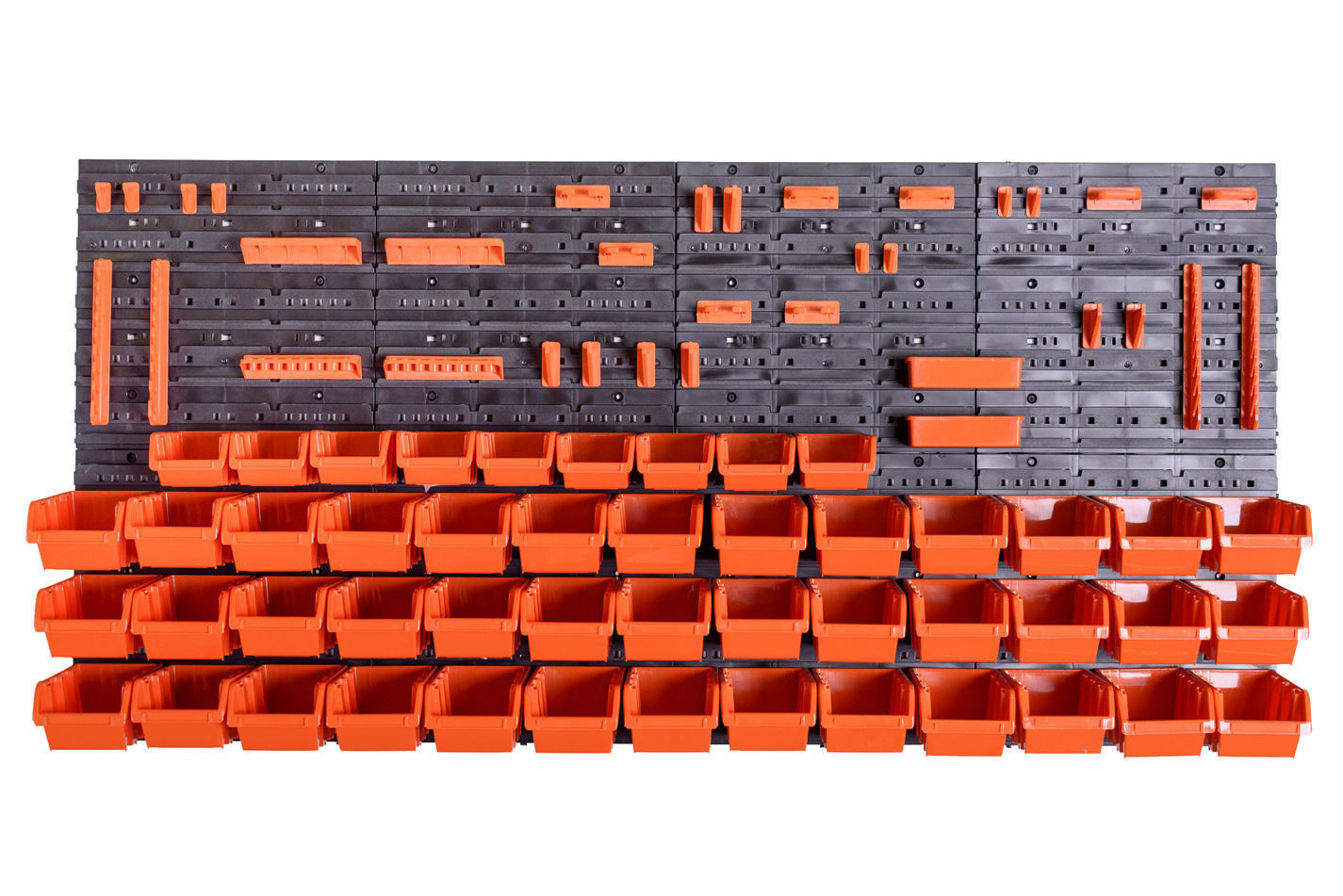 76 teiliges SET Lagersichtboxenwand Stapelboxen mit Montagewand Werkzeugwand